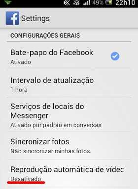 Bloquear reprodução automática de vídeos no Facebook celular telemovel