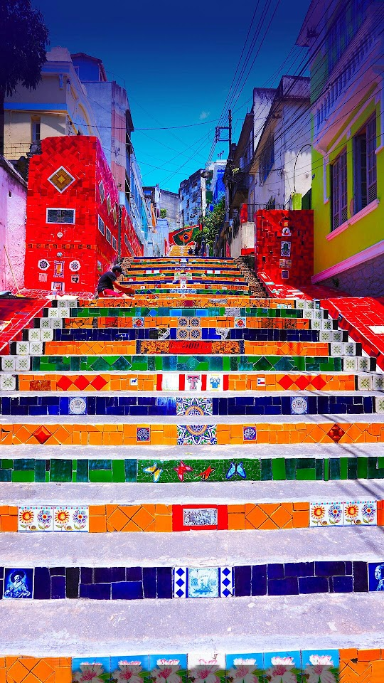 Brazil Landscape Colorful Stairs Buildings  Galaxy Note HD Wallpaper