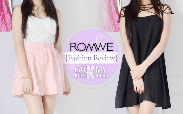 The Eat My Knee Socks/Mimchikimchi review of the Romwe original-design caged shift dress and pastel 3D rose skater skirt.