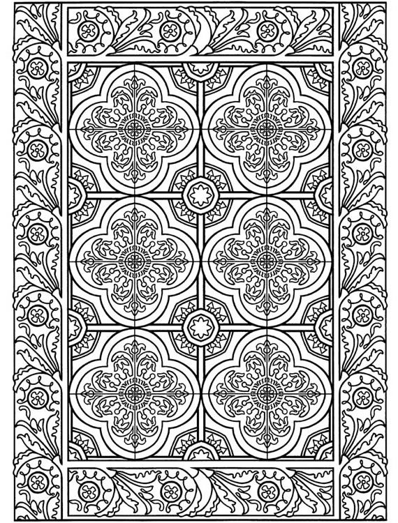 Coloring Page World Floral Tile
