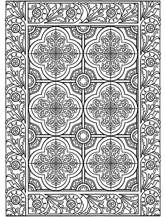 coloring page world  floral tile  portrait