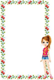 Caratula floral para cuadernos de niña de Barbie