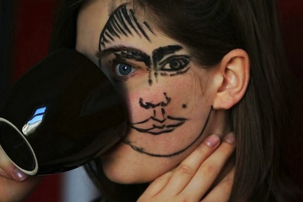 Clever Portraits of Double-Faced Girl 1
