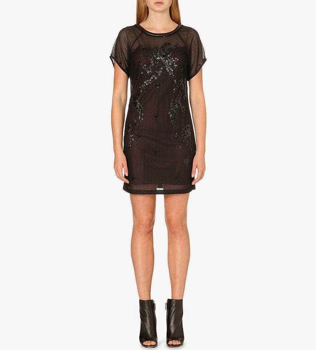 karen millen lace sequin black dress