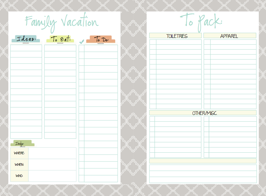 Weekly Vacation Planner Images - Reverse Search
