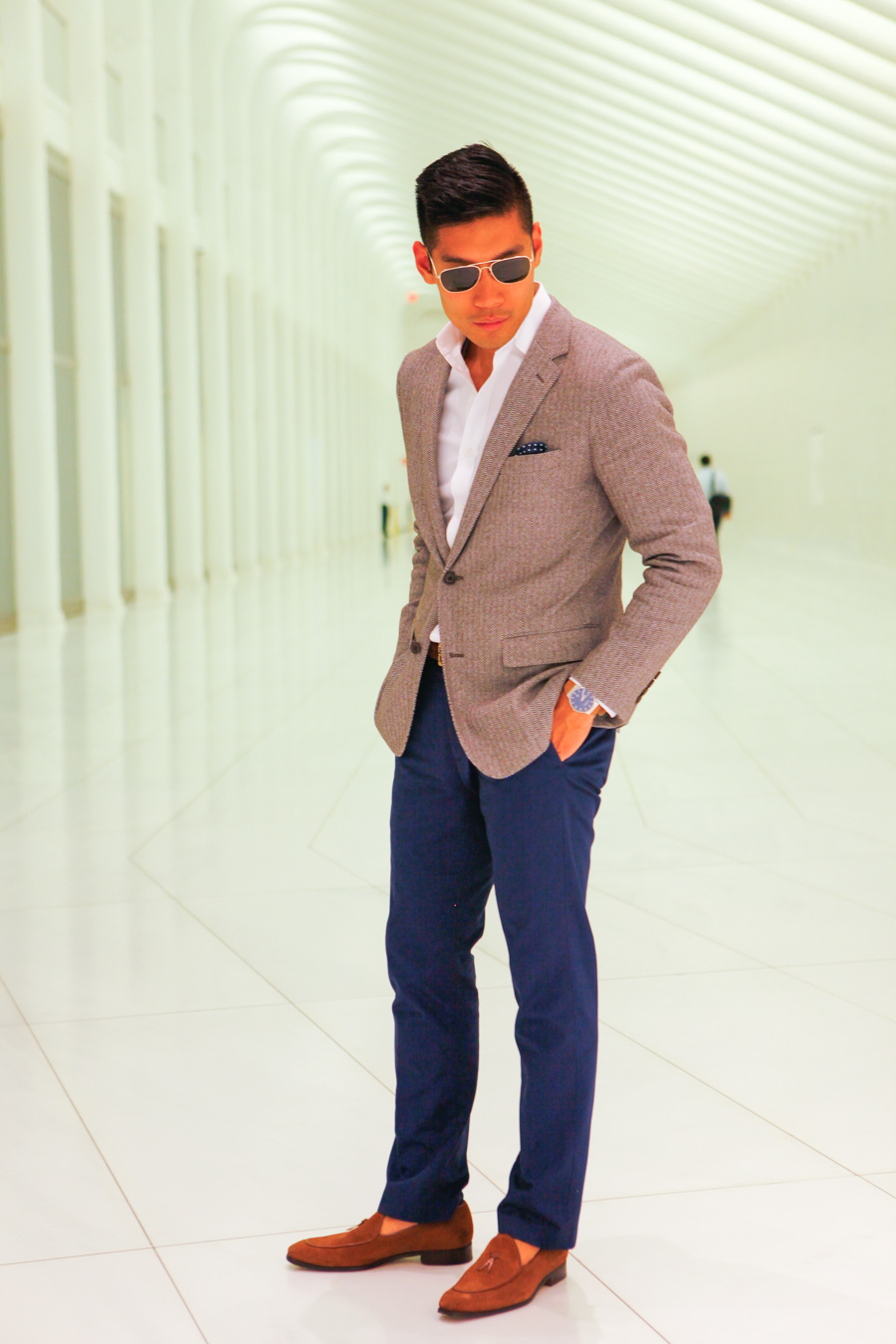 Levitate Style, Menswear, Bonobo, Italian Knit Blazer, One World Trade Center, Leo Chan