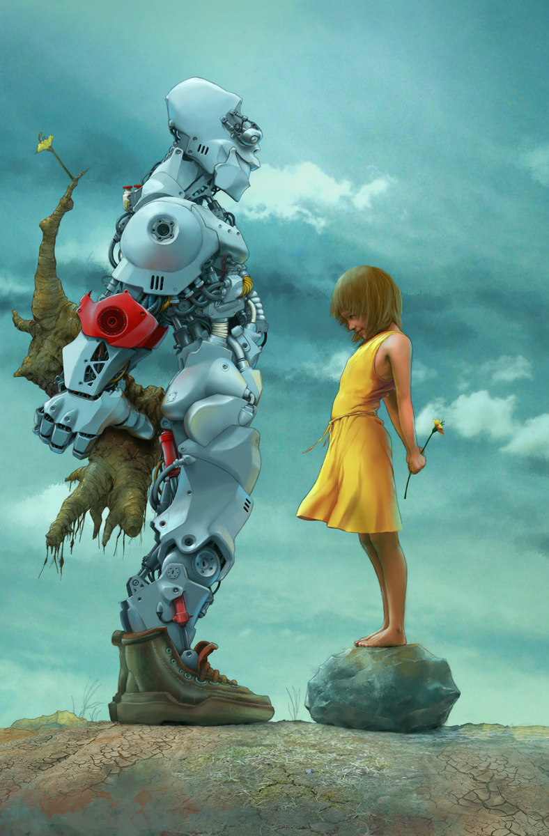 Girl And Robot Exchange Flowers