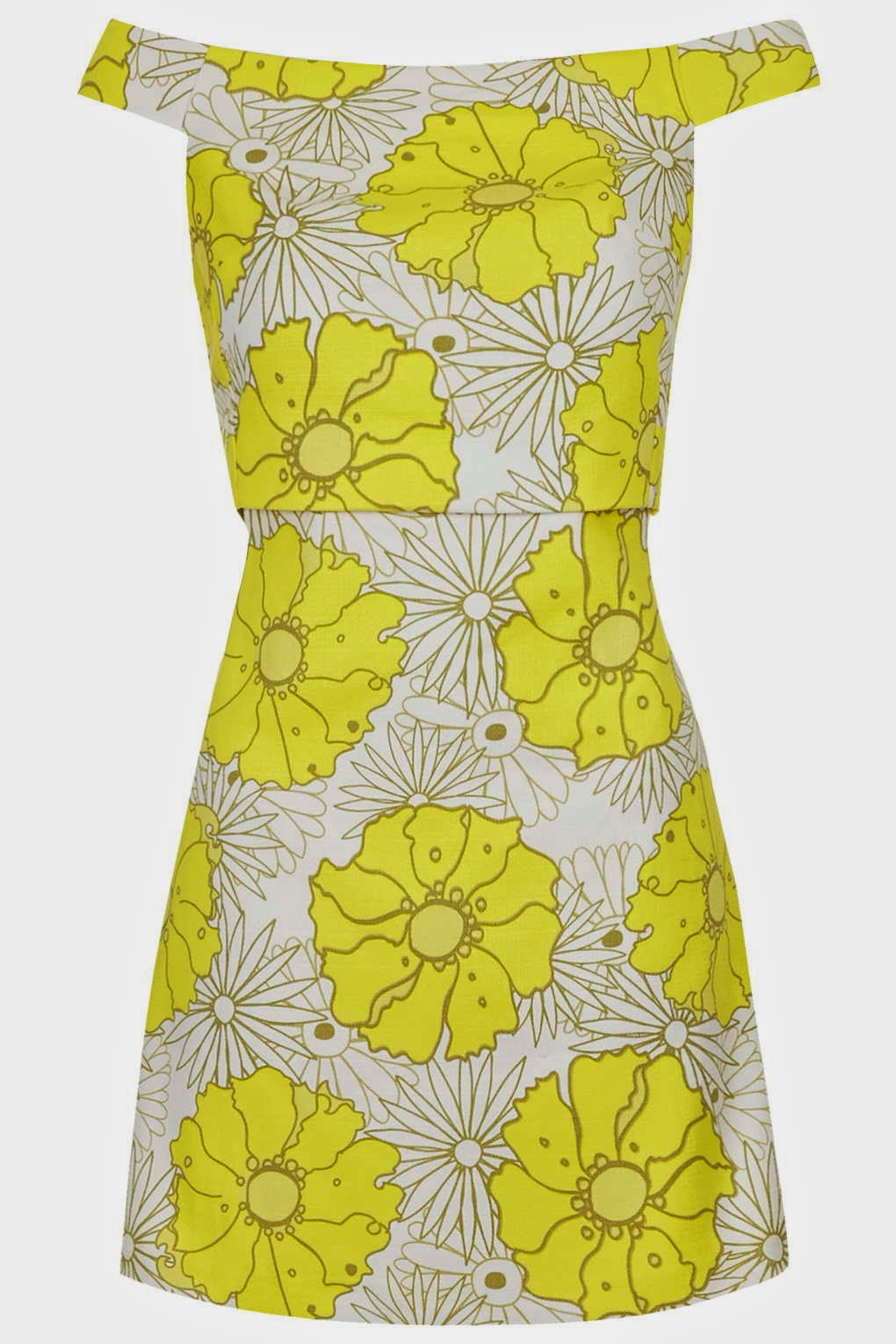 seventies style dress topshop, yellow flower off shoulder dress, yellow flower dress,