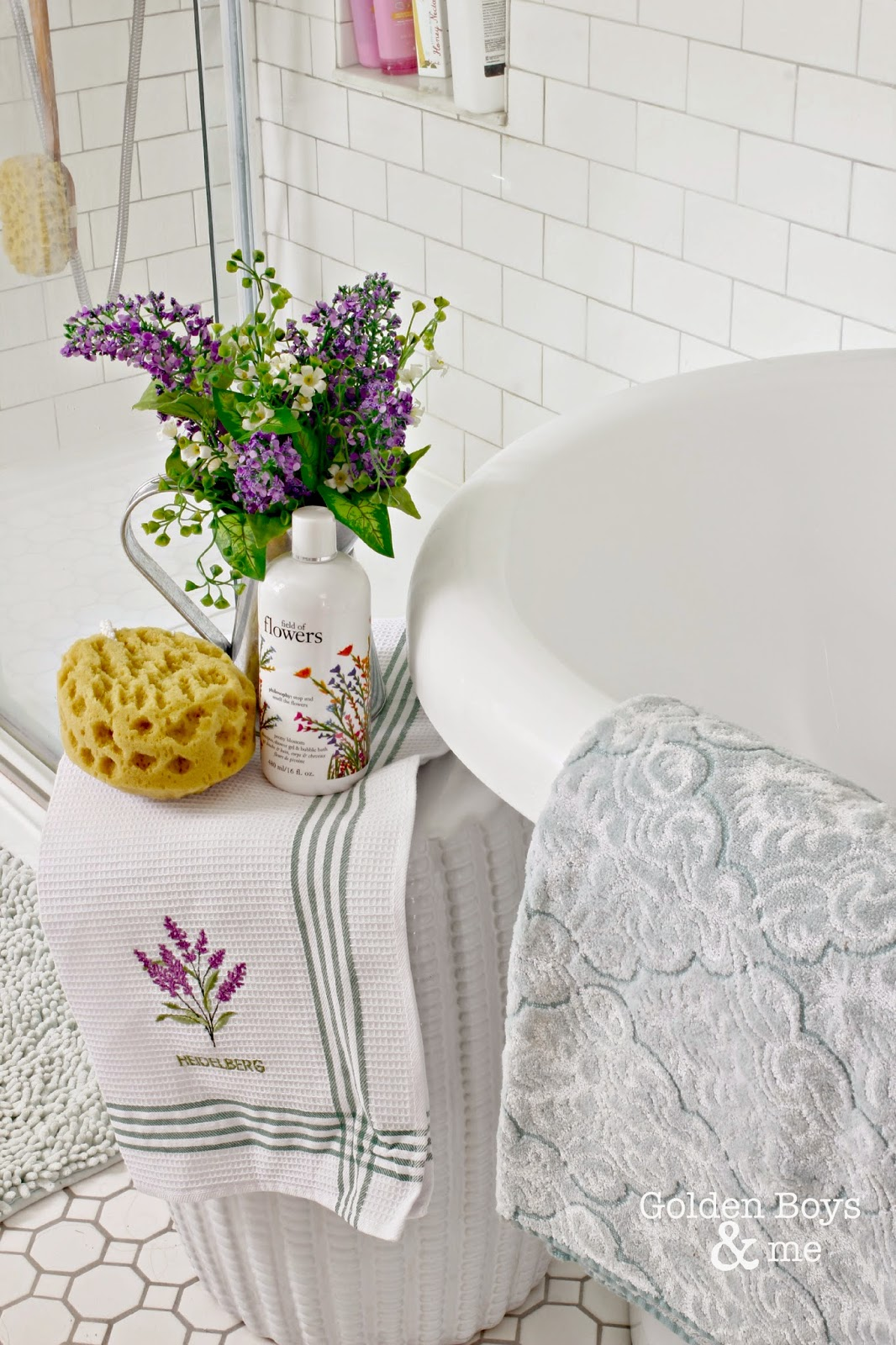 Garden stool in master bathroom next to tub
