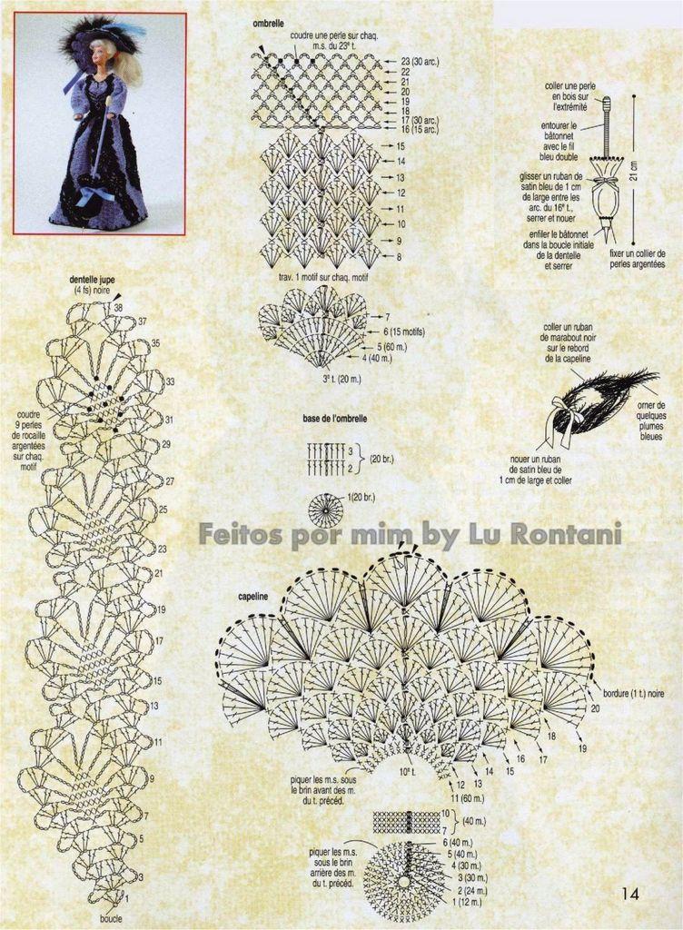 Схемы для вязания крючком платья для барби