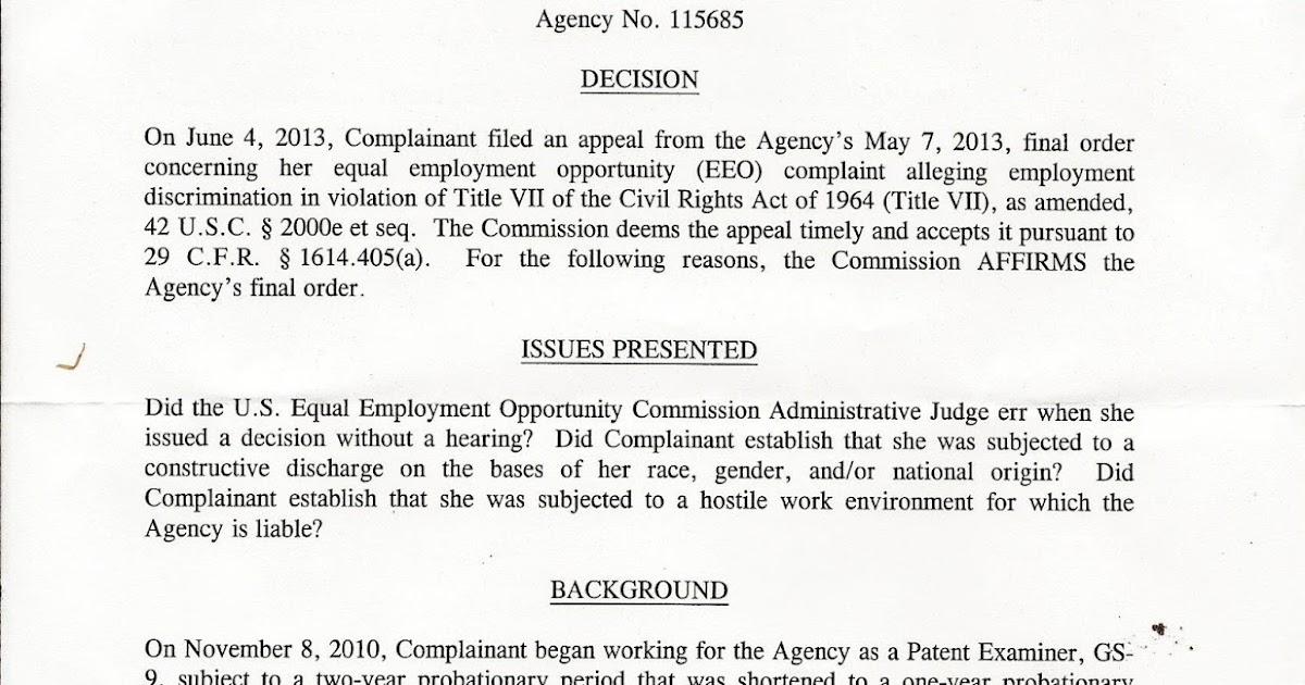 eeoc case  eeoc ofo appeal decision