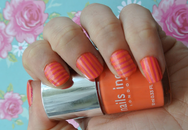 pink and orange striped nails