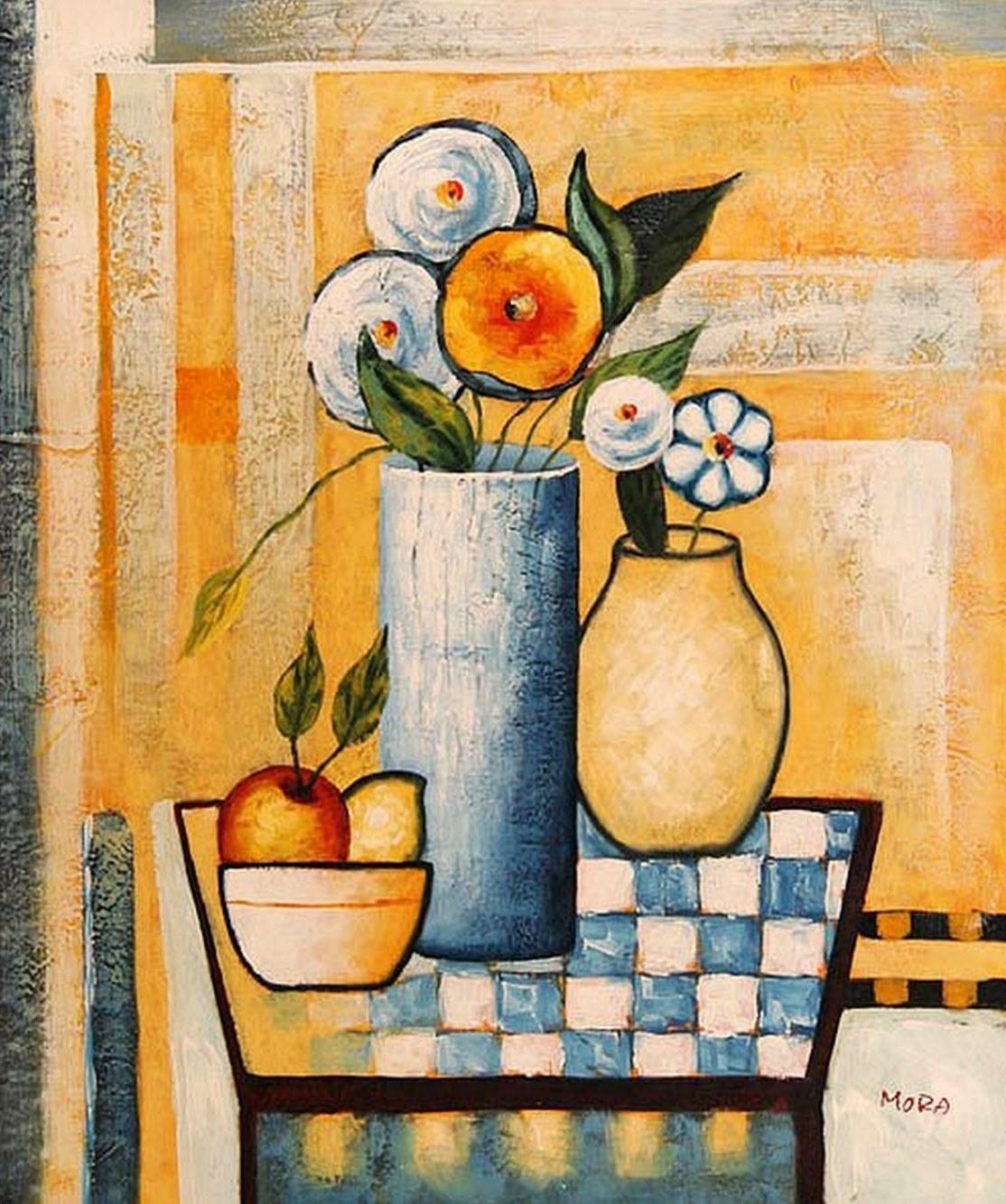 Cuadros modernos pinturas y dibujos flores pinturas al for Cuadros al oleo modernos para comedor