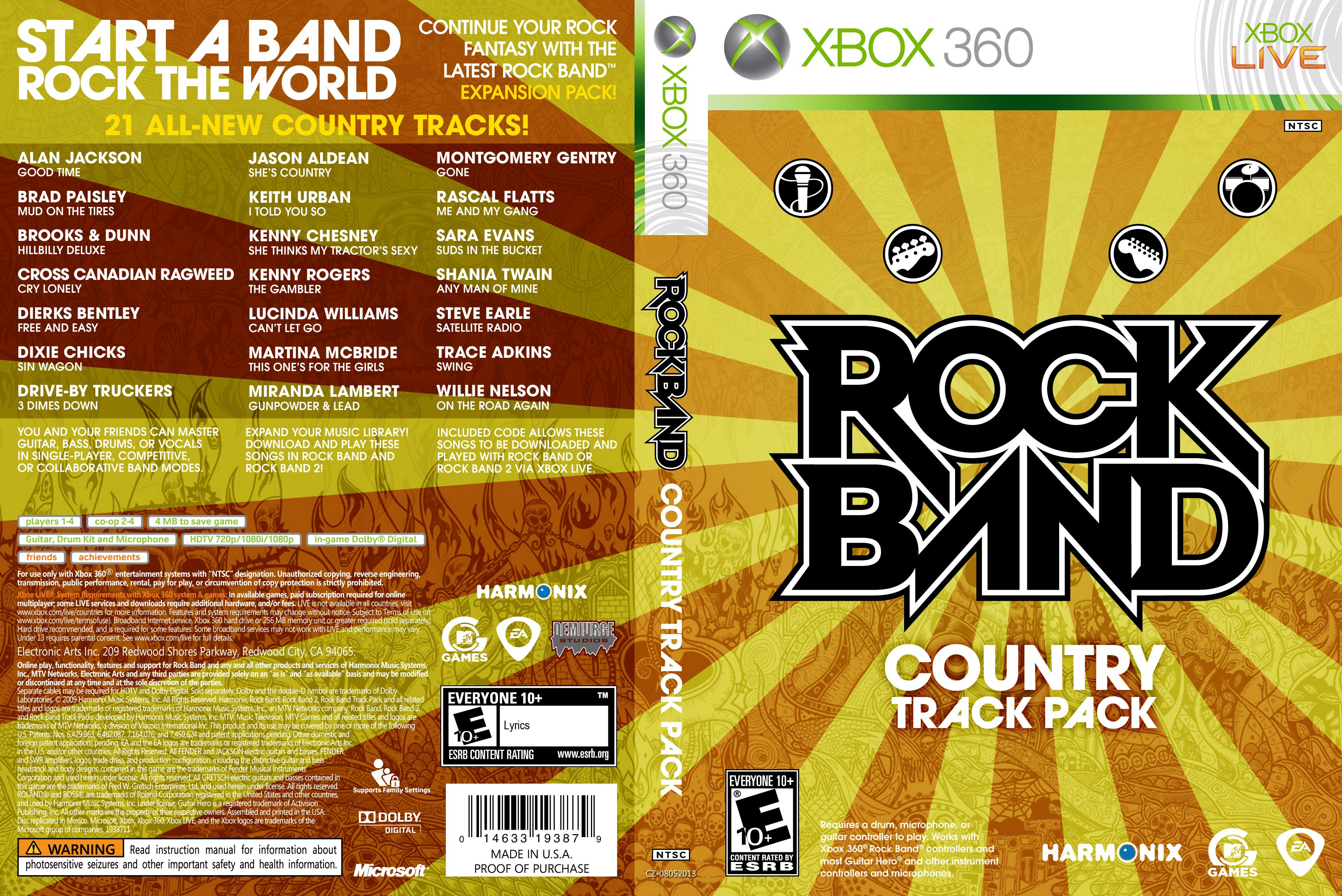 Capa Rock Band Country Track Pack Xbox 360