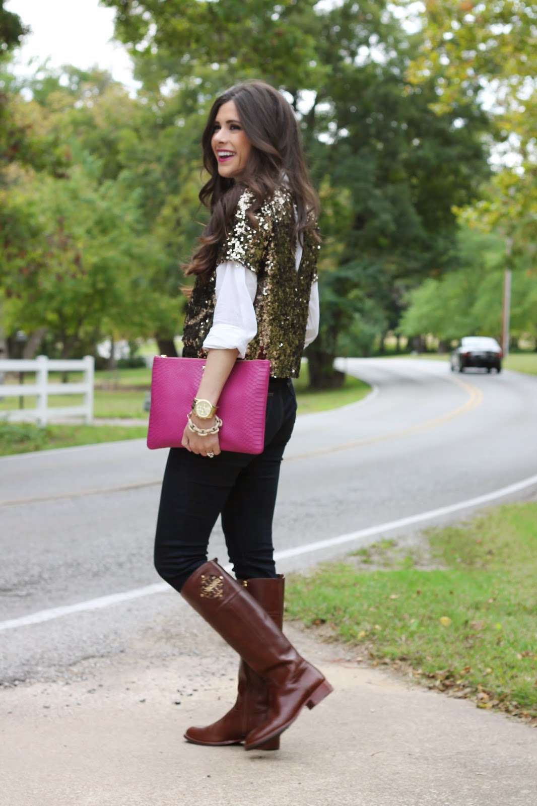 mac rebel, brunette, fashion blog, fall fashion, pinterest fall fashion, emily gemma, the sweetest thing blog, jcrew, jcrew sequin shirt, tory burch boots, kiernan boots, rebecca minkoff, plaid and sequins, gigi new york clutch