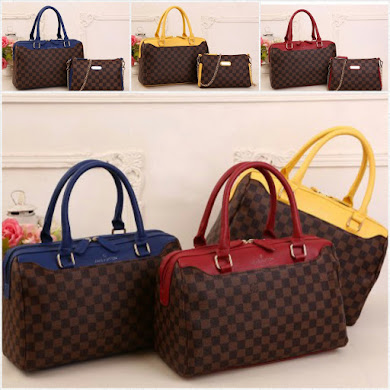 LV BAG ( 2 IN 1 SET ) - BLUE , YELLOW , RED