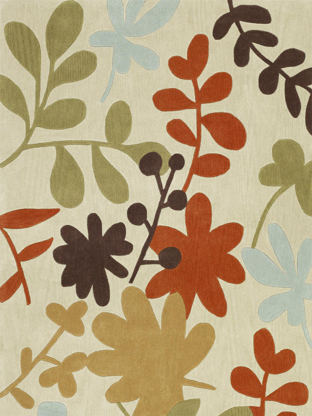 stylized floral motifs, stepped center