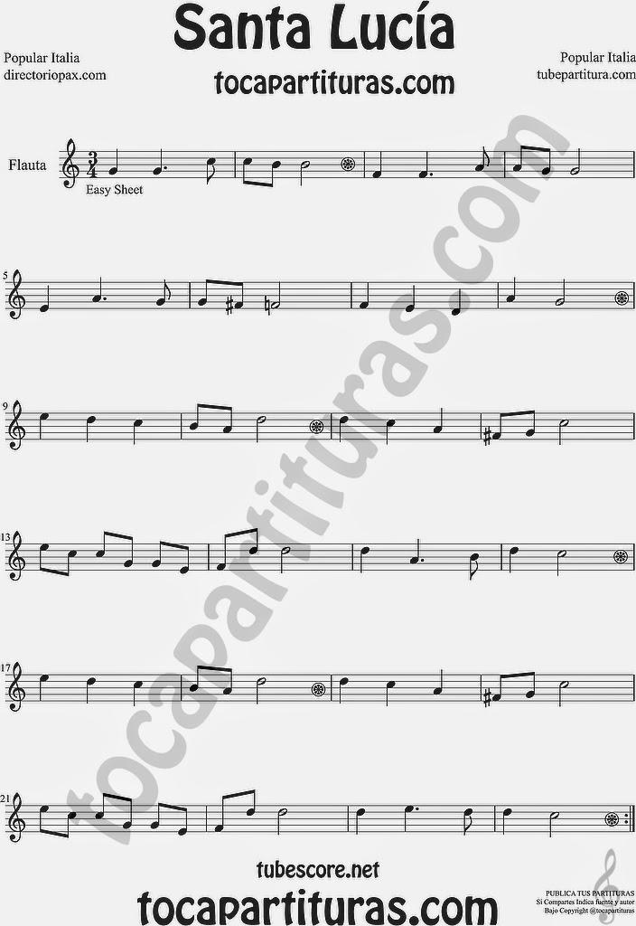 Santa Lucía Partitura de Flauta Travesera, flauta dulce y flauta de pico Sheet Music for Flute and Recorder Music Scores Popular Italiana