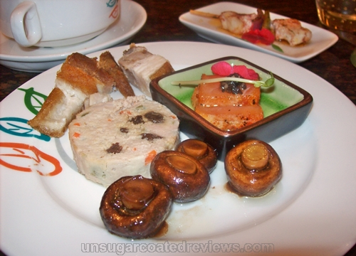 embutido, lechon kawali, pickled mushrooms, shake salmon sashimi at Seasons buffet Manila Pavilion Hotel