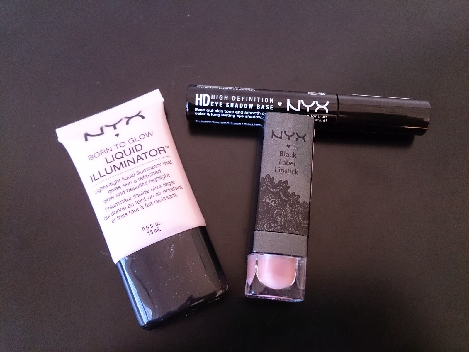 NYX Cosmetics makeup haul liquid illuniator sunbeam high definition eyeshadow base primer black label lipstick nude