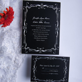 Classic black and white wedding invitations with red flower