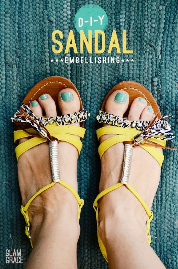 DIY rhinestone and tassel sandals