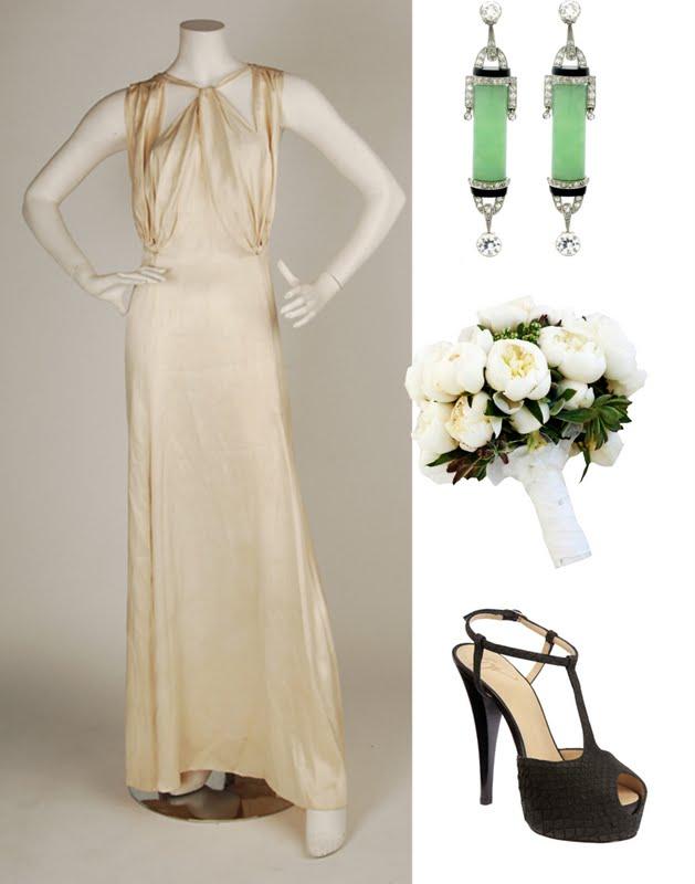 Art Deco Bride in a blush silk vintage Chanel wedding gown