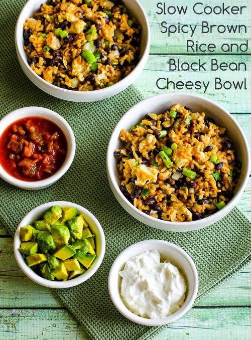 Slow Cooker Spicy Brown Rice and Black Bean Cheesy Bowl from Kalyn's ...