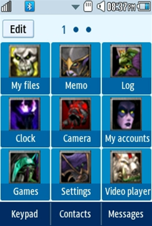 DOTA All-Stars Samsung Corby 2 Theme Menu