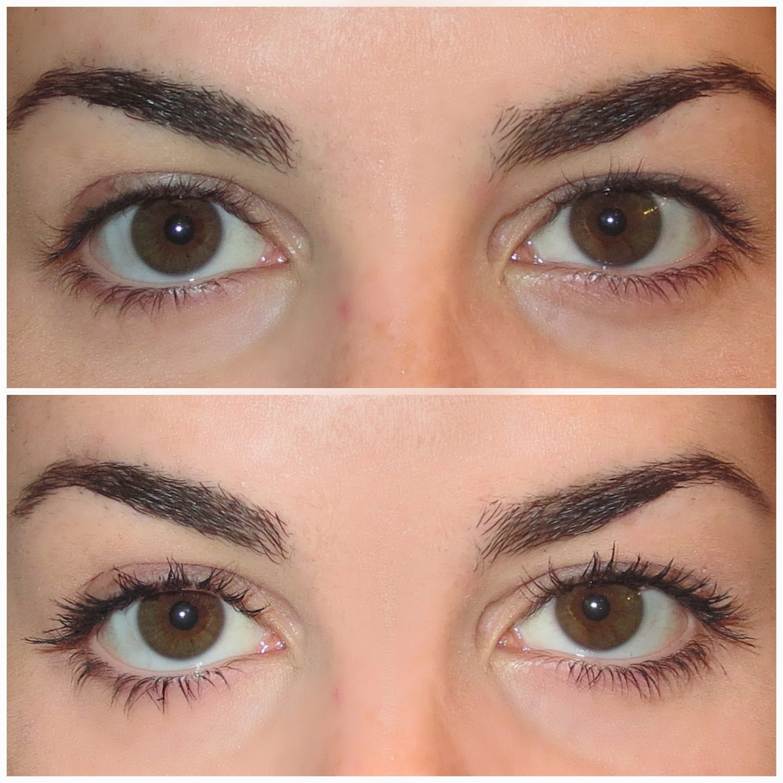 a picture of lashes before and after one coat of Benefit Roller Lash mascara
