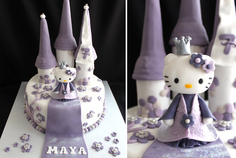 gâteau anniversaire hello kitty mauve