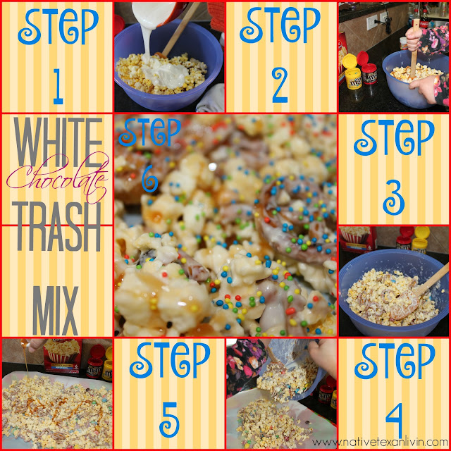 White Chocolate Trash Mix made with Orville Redenbacher popcorn, M&M'S®, pretzels & white bark