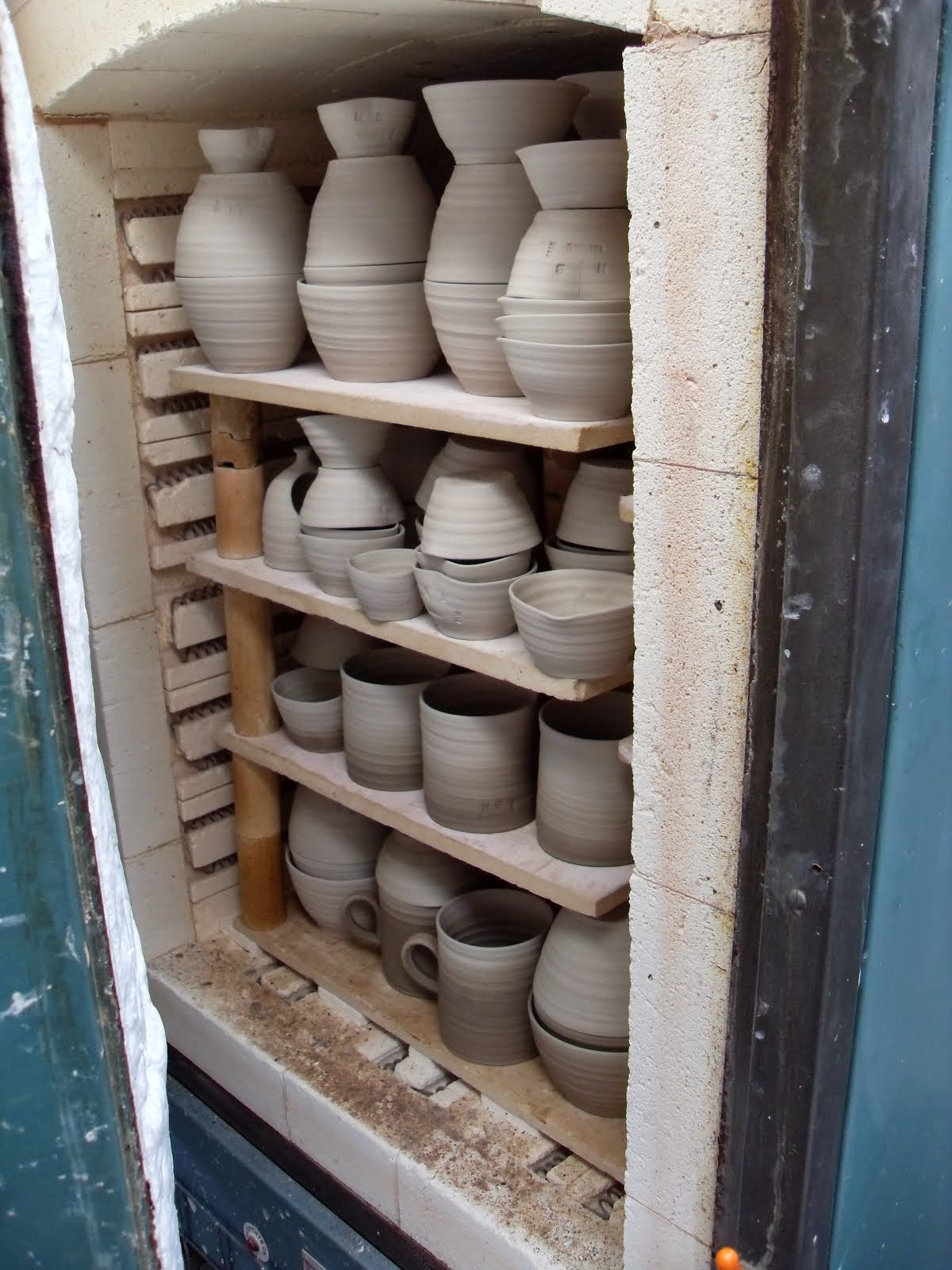 Pots for sale fresh from the kiln..