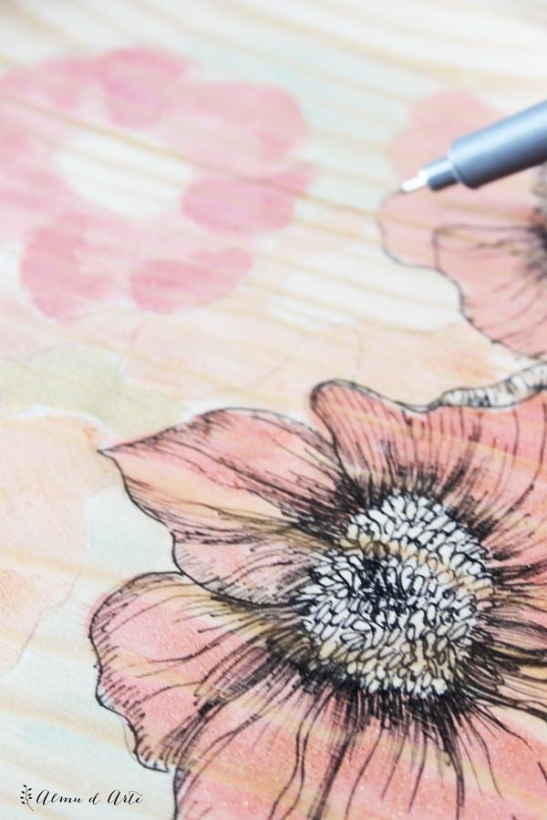 pintar flores con acuarela y tinta