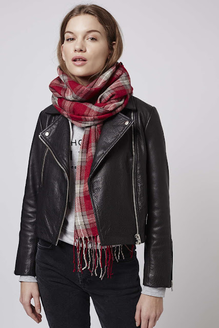 red check scarf, topshop check scarf, oversized check scarf,