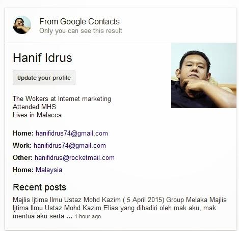 Perkembangan Hanif Idrus Blog 2015