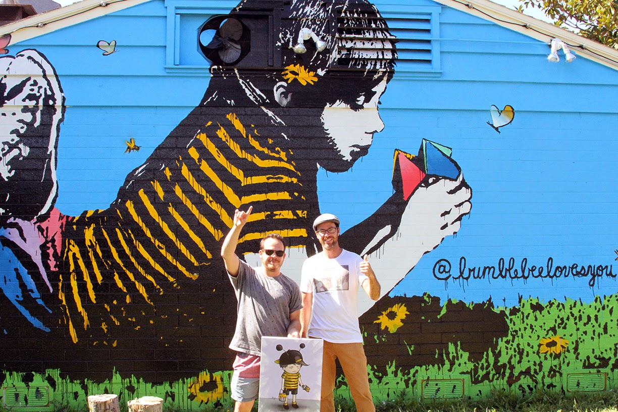 Bumblebee paints a new mural in carlsbad california for Bumble bee mural