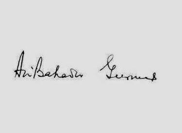 Signature of Late Ari Bahadur Gurung - a gorkha who signed the constitution of India.