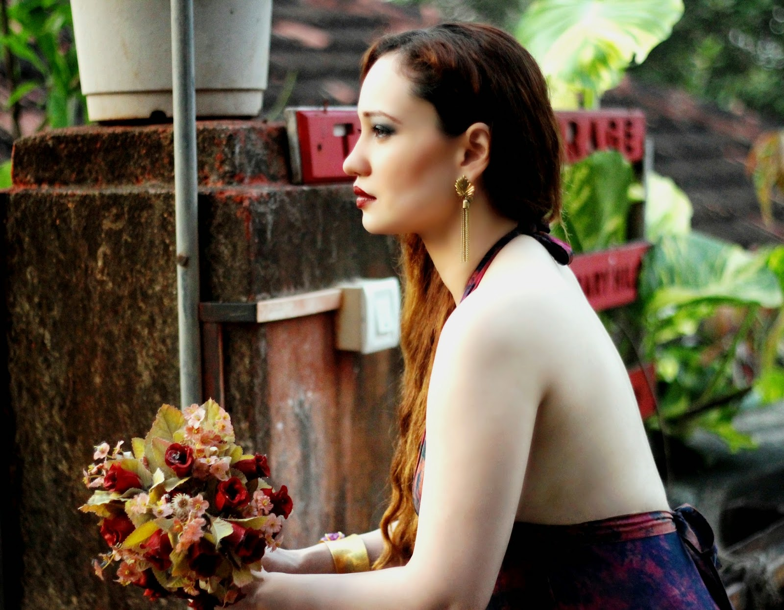 Backless Dress, Gold Tassel Earrings, Bordeaux Lips ,Smokey Eyes