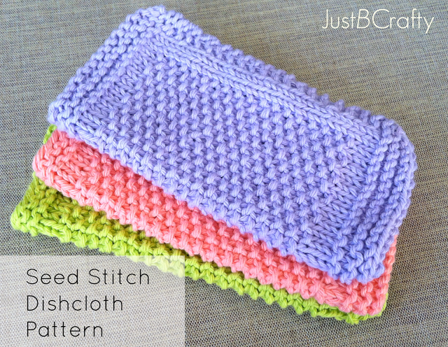 Knit Dishcloth Patterns Two Colors : 5 Fun Knits for Beginners Just B Crafty