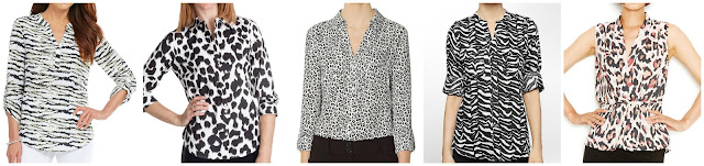 Westbound Zebra Print Y-Neck Popover Top $13.65 (regular $39.00) Paperwhite Animal Print Shirt 3/4 Sleeve $13.76 (regular $49.95)  The Limited Printed Ashton Blouse $39.99 (regular $59.95)  Calvin Klein Mandarin Collar Animal Print Linen Roll Up Sleeve Top $39.99 (regular $79.50)  Bar III Sleeveless Animal Print Surplice Top $39.99 (regular $49.50)