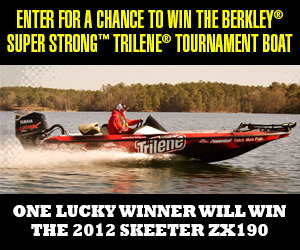 Enter for a chance to win the Berkley Super Strong Trilene Tournament Boat