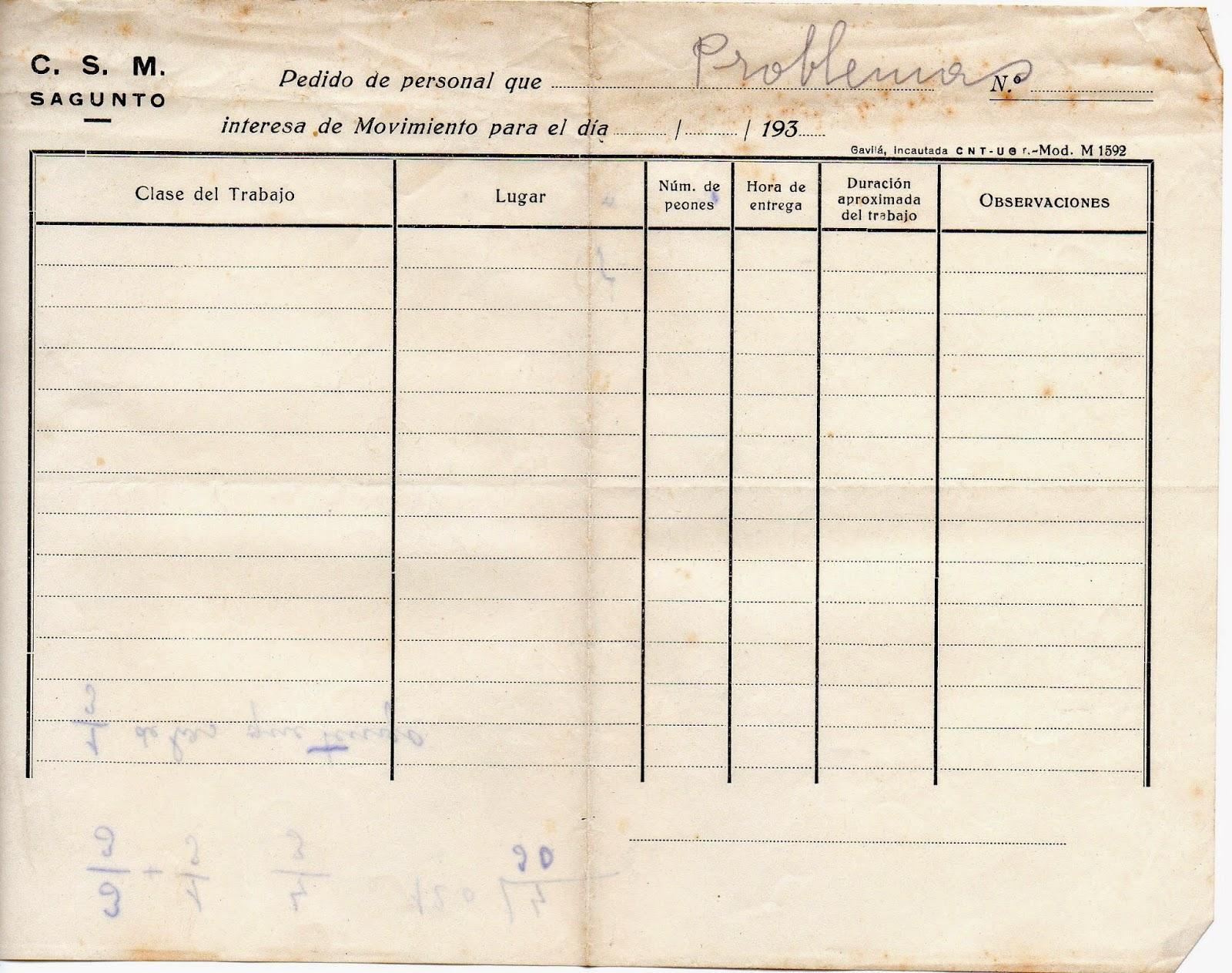 Melitina Álvaro Blázquez - 1933-1940 - Parte de desplazamiento de Compañía Siderúrgica del Mediterráneo CSM