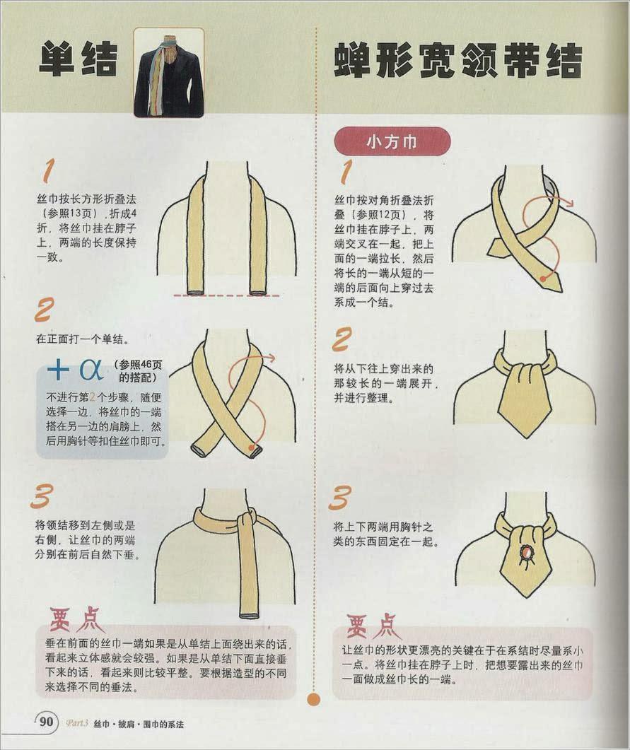 Способы завязывания шарфов, платков.