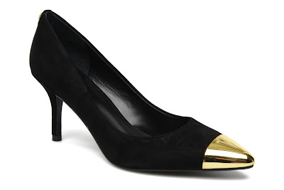 Black suede shoes with gold pointed heel toe cap