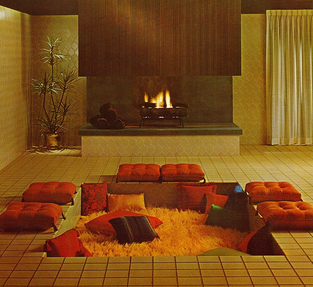 This Is Actually From A 1966 Tile Advertisement But What Drew My Attention Was The Orange Shag Carpeting In Front Of Fireplace It Looks Like Cozy