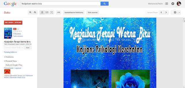 Tampilan Buku Keajaiban Terapi Warna Biru ada di Google Buku