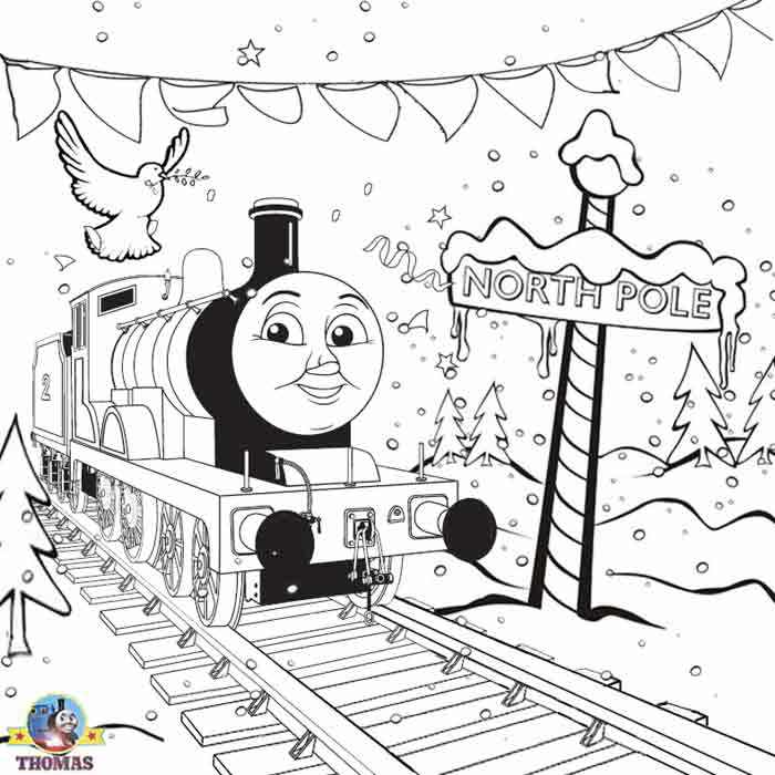 thomas the tank engine christmas coloring pages