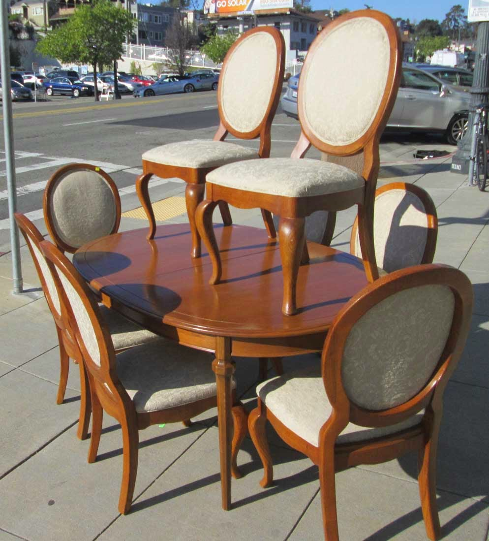 Uhuru furniture collectibles sold thomasville dining room set table 3 leaves 8 chairs 250 - Thomasville kitchen table ...