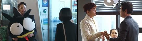 Dok Go Ma Te holding a huge stuffed animal / Ma Te giving a man a hand massage.